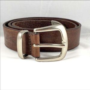 LEVI'S Full Grain Brown Leather Belt Silver Buckle
